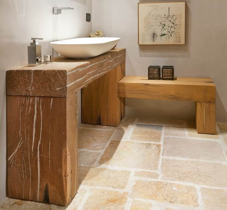 mobile bagno in rovere antico da travi