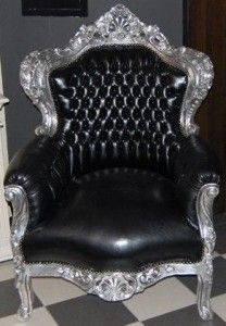 Casa Padrino Barock Sessel King Schwarz Silber Lederoptik Interer