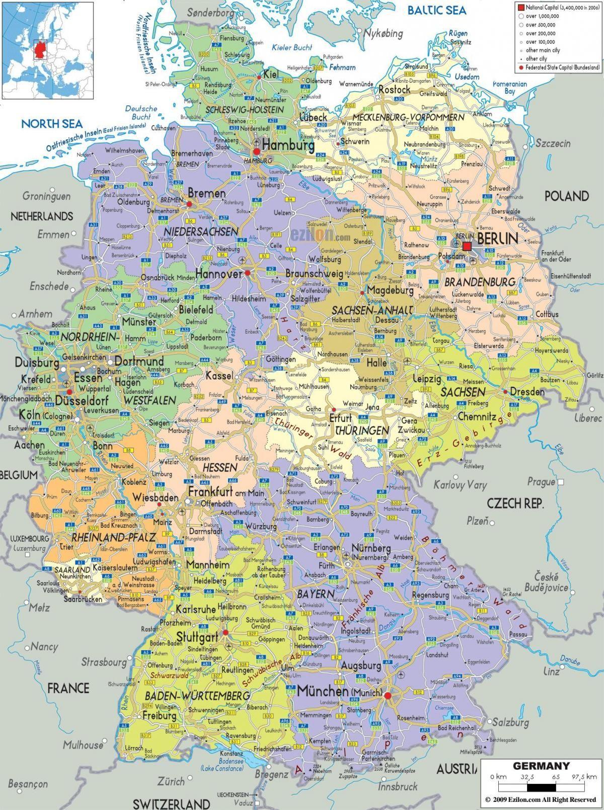 Tyskland City Map Kort Byer I Tyskland Det Vestlige Europa