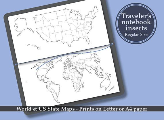 Printable World US State Map Bullet Journal Midori travelers