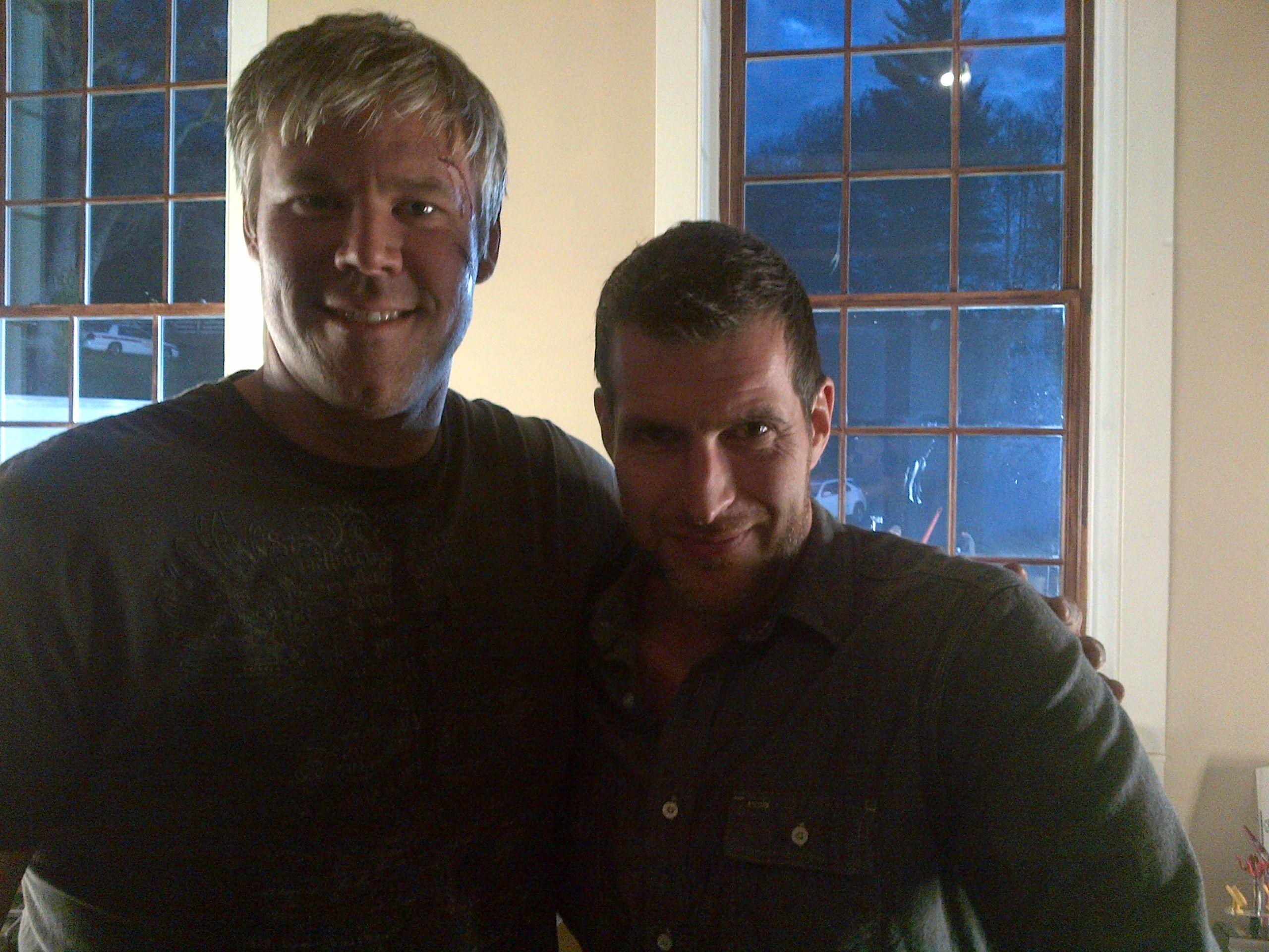 "Sean Mettler on set of ""Sleepy Hollow"" with makeup artist"