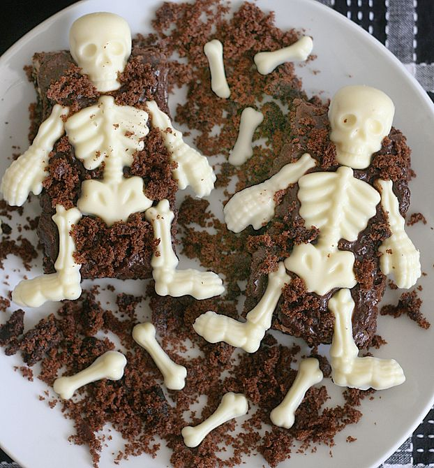 White Chocolate Skeletons in Chocolate Walnut Brownies Grave