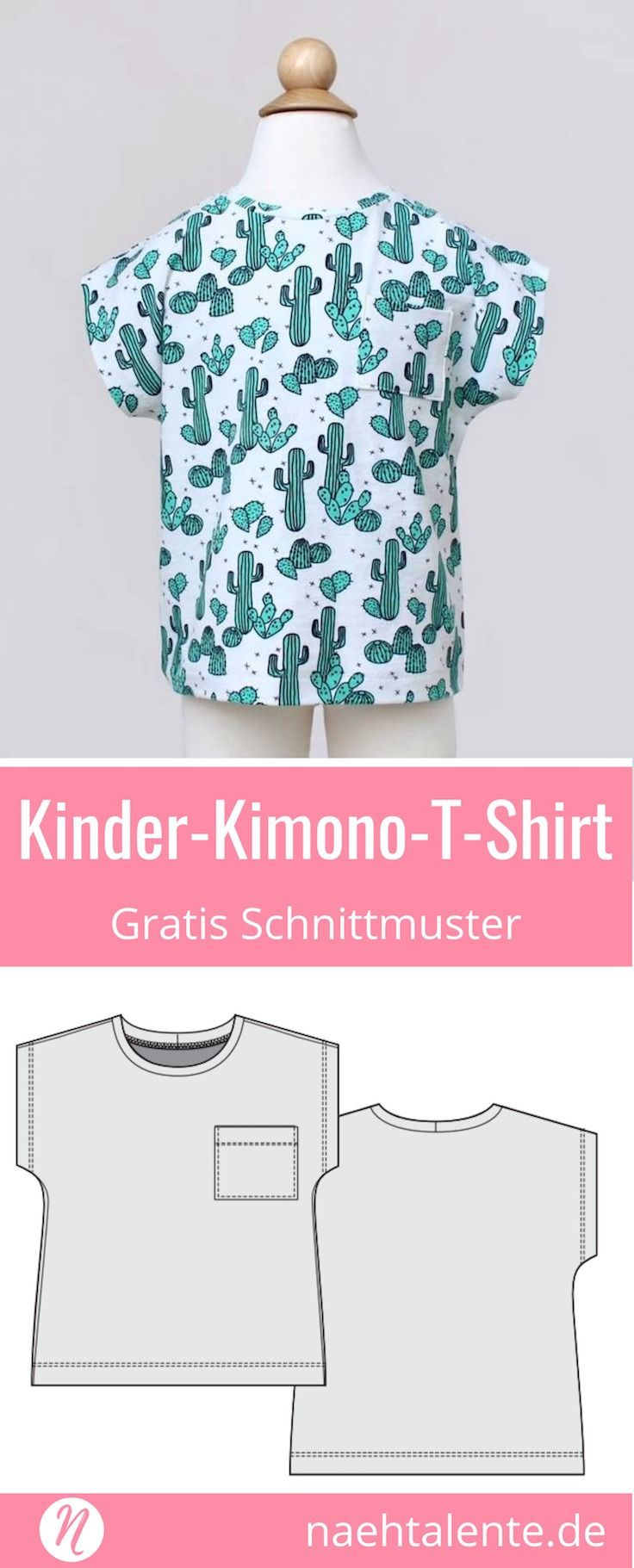 Kindershirt im Kimono-Stil - Freebook | Sewing patterns, Sewing ...