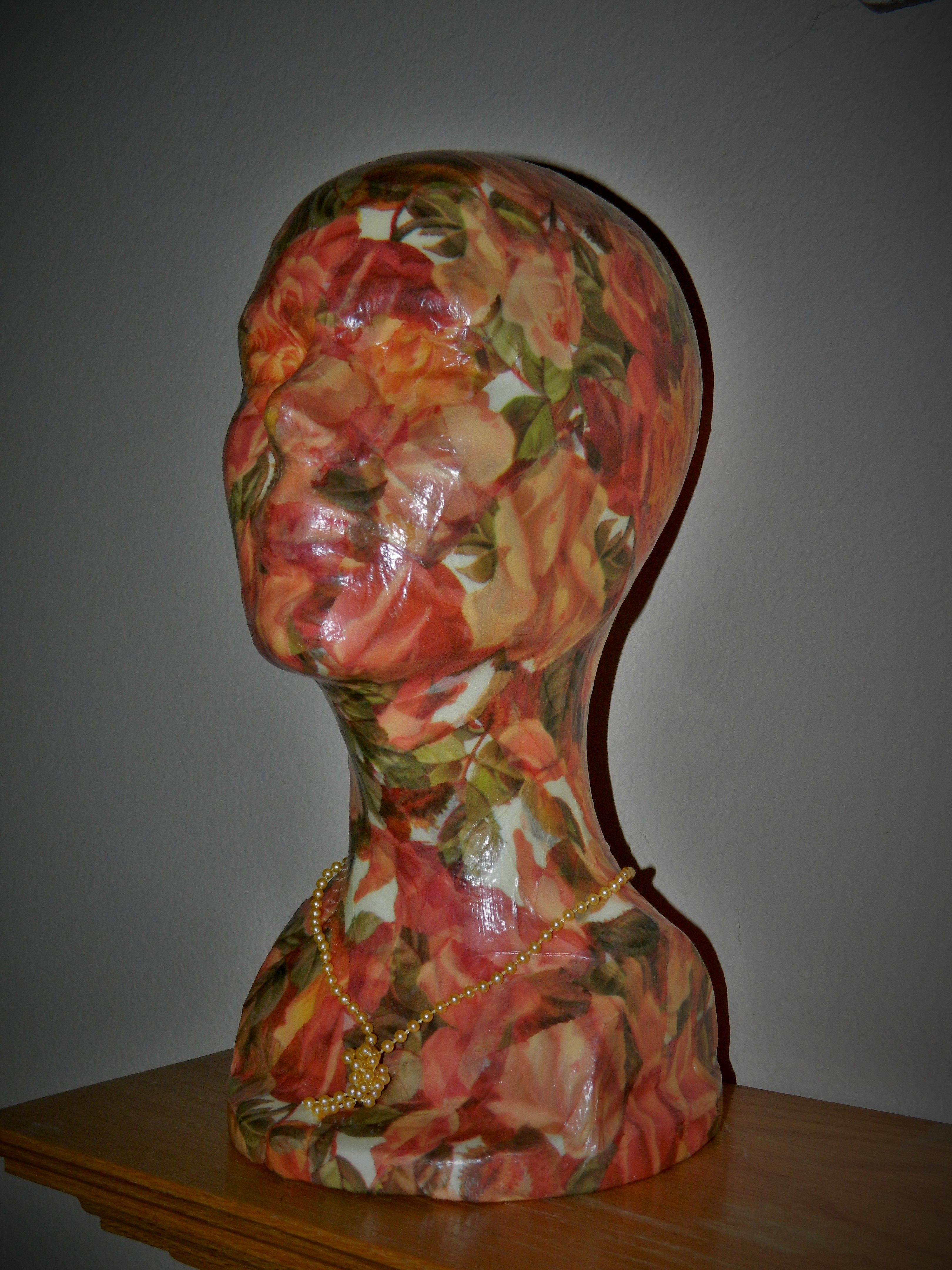 A Styrofoam Head I Decoupaged With Tissue Paper
