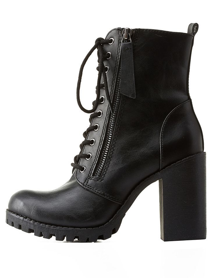 4a5d872948a1 Zipper-Trim Chunky Heel Combat Boots by Charlotte Russe - Black ...