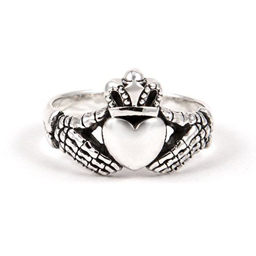 Biker Claddagh Ring Skeleton Hands Steling Silver 925 13 -- For more information, visit image link.