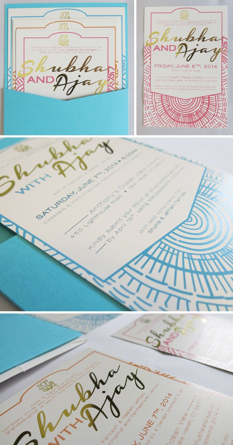 gold foil // wedding invitations // bright colors // indian wedding ...