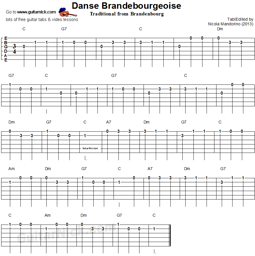 danse brandebourgeoise easy guitar tablature guitar easy guitar guitar classical guitar. Black Bedroom Furniture Sets. Home Design Ideas