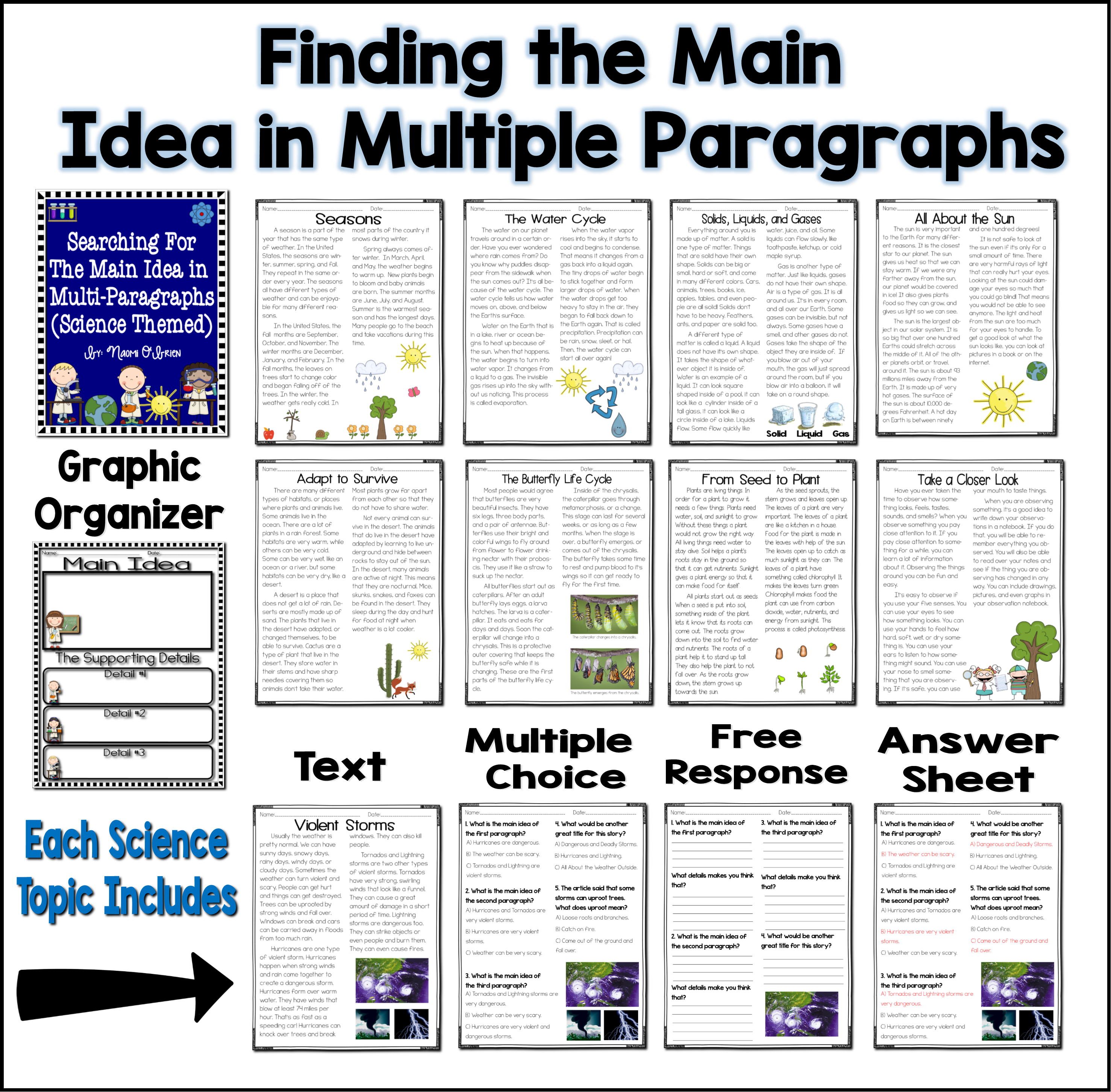 Main Idea And Details Multiple Paragraphs Amp Science