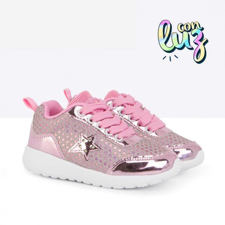 Zapatillas con Luces de Niña Lunares Rosa Calzado Niña