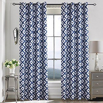 Mughal Flower Curtains Navy Beige White Curtains Indian Block