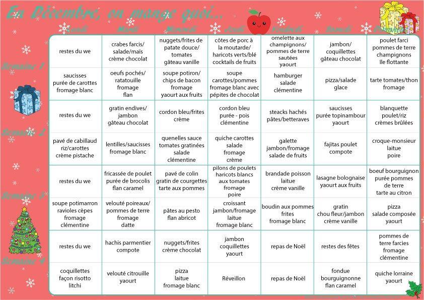 Menus Au Mois Et A La Carte Decembre Menu Mensuel Idee Menu
