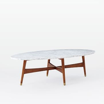 Reeve Mid Century Oval Coffee Table Marble Walnut Tables Top And