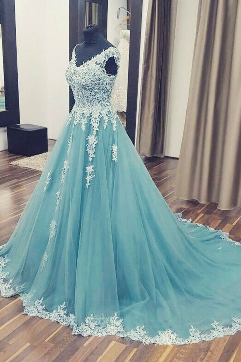 Light blue chiffon long lace appliqué prom dress, train evening ...
