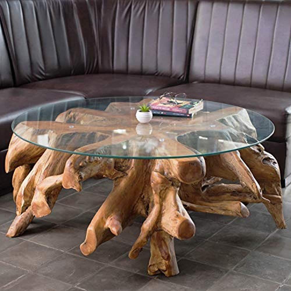 Wurzeltisch Mit Glasplatte Ca 100 Cm Teakholz Tisch Aus Einer