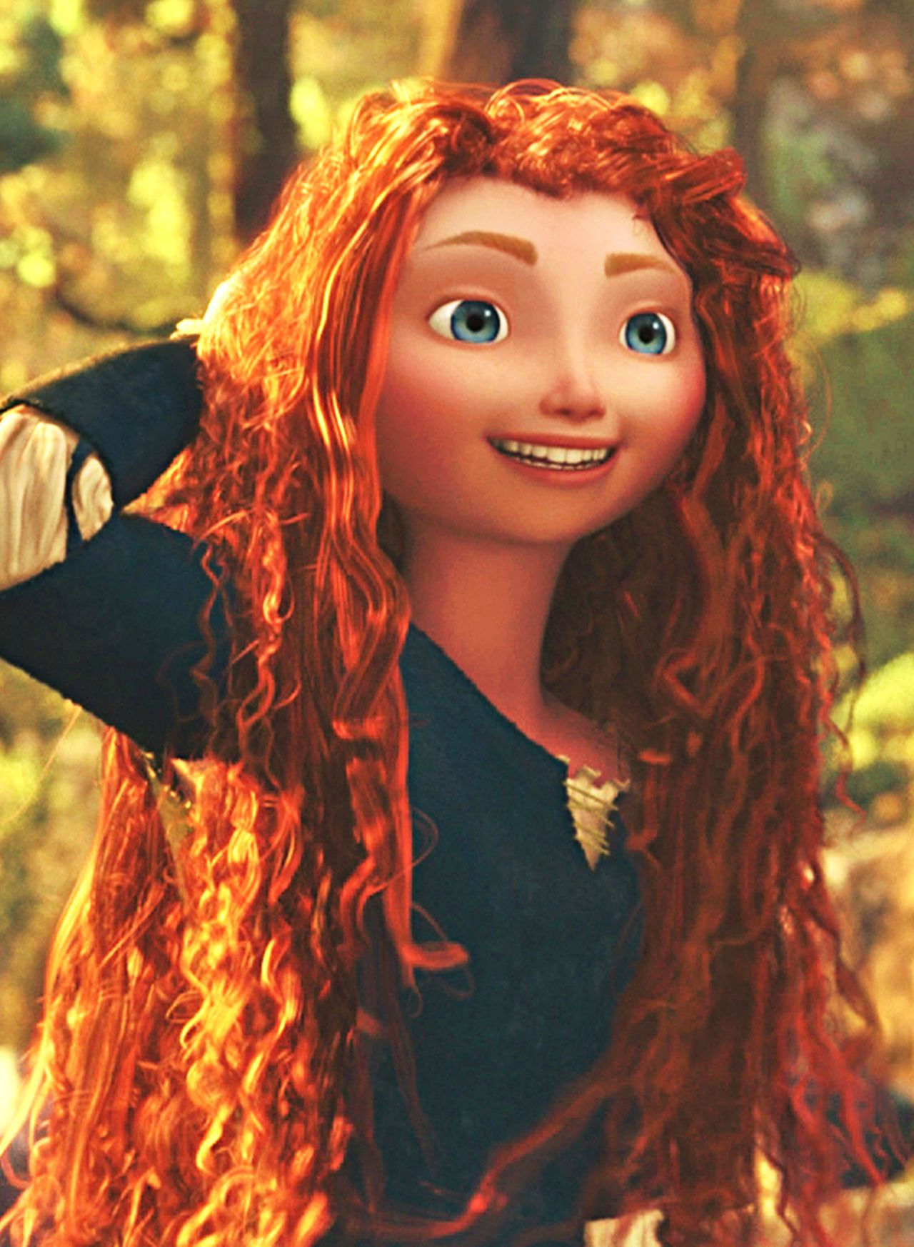 Merida--I love this so much because that's actually how crazy-curly hair looks wet, and it just love that the animators took the time to do that!