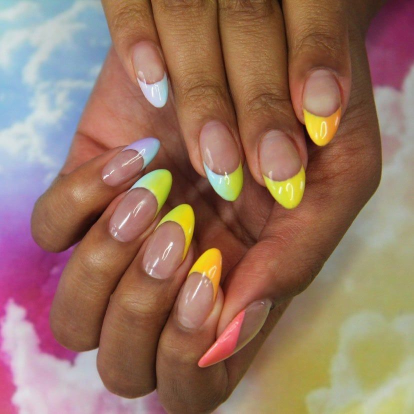 Uk Nail Art Trend Rainbow French Manicure In 2020 Nail Polish Colors Summer Nail Polish Trends Summer Nails