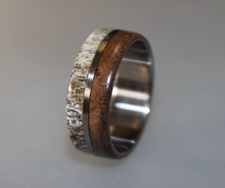 Titanium Ring Deer Antler Ring Antler Ring Mens Titanium Wedding Band Oak  Wood And Antler Inlays