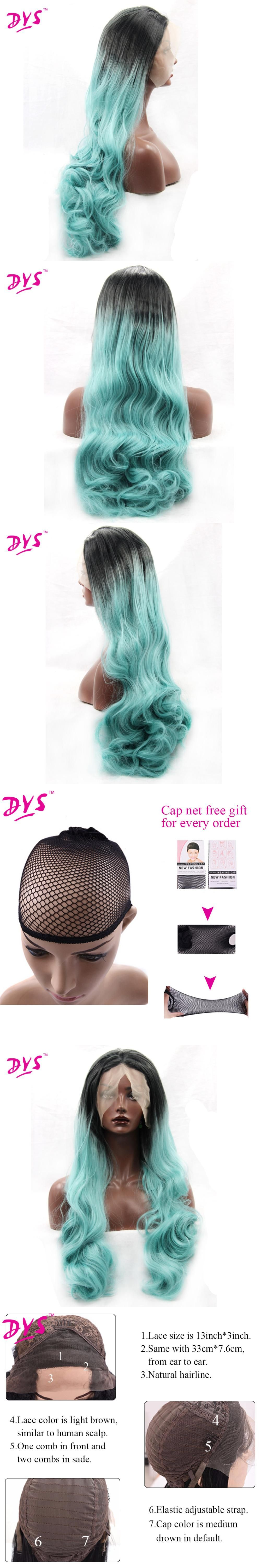 Deyngs ombre black to blue synthetic lace front wig for black women