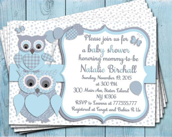 Blue grey owl baby shower printable invitation baby boy digital blue grey owl baby shower printable invitation baby boy digital invite personalized invitation party invite diy negle Image collections
