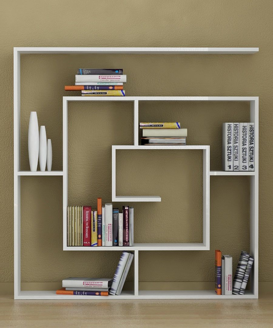 Simply Cool Bookshelf Unit Design Idea With Unique Shape