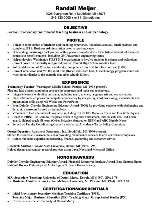 teaching business resume sample http//exampleresumecv