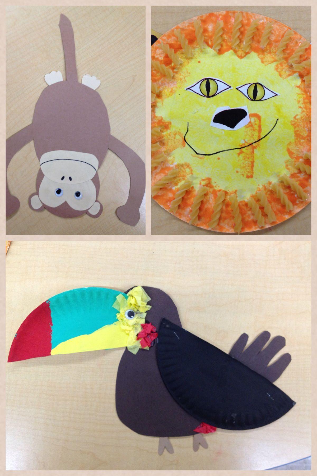 Jungle Theme Crafts Parrot Monkey Lion