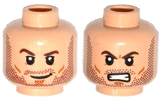 LEGO Flesh Head Beard Brown Minifig Black Eyebrows /& Grin with Teeth