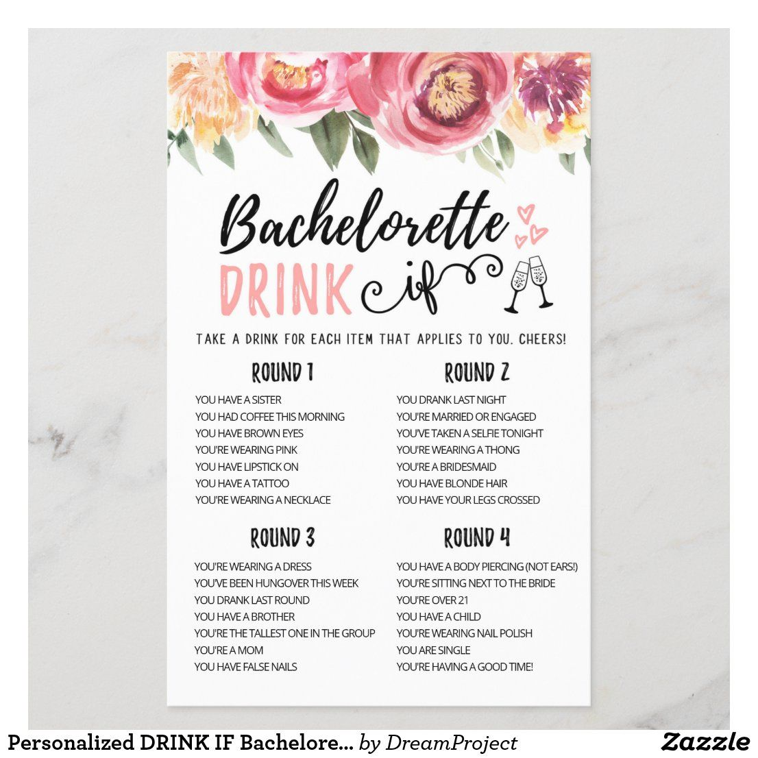 Personalized DRINK IF Bachelorette, Hen Party game