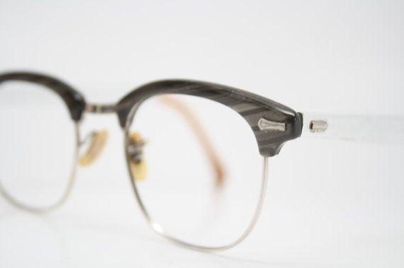 f183723c4de Gray Browline 1950 s Wire Rim Eyeglasses Silver G by PinceNezShop ...