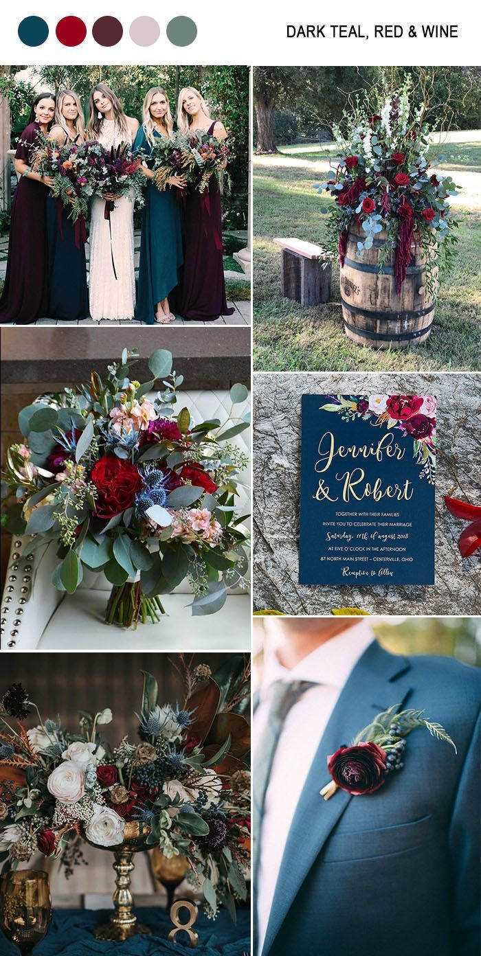 Photo of dark teal blue, wine and moody autumn wedding colors of green …