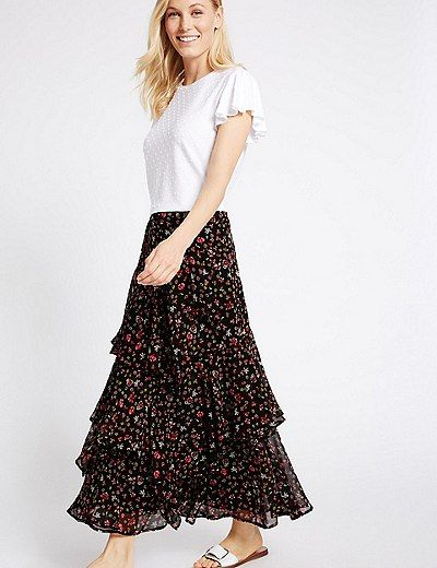 1266a2a04d Tiered Ditsy Print A-Line Maxi Skirt | Marks & Spencer London ...