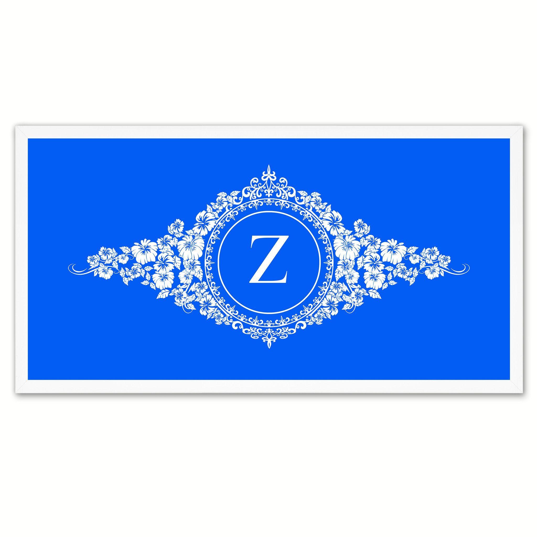 Alphabet Letter Z Blue Canvas Print White Frame Kids Bedroom