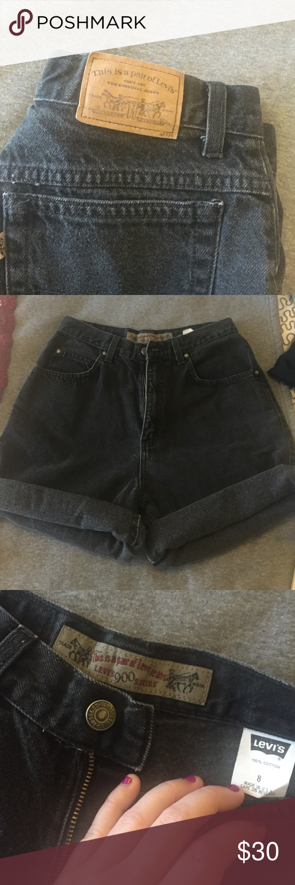 TRUE VINTAGE high waisted Levi's TRUE VINTAGE high waisted Levi's, size 8 but fit more like a regular 6 or tight 8, it depends on how you like the fit. The bottoms of these are rolled, there is no damage or stains. Make an offer! Levi's Shorts Jean Shorts