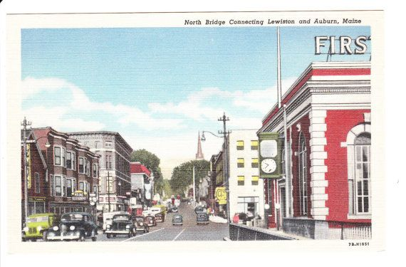 Lewiston & Auburn Maine Vintage Postcard by PicturesFromThePast, $4.25