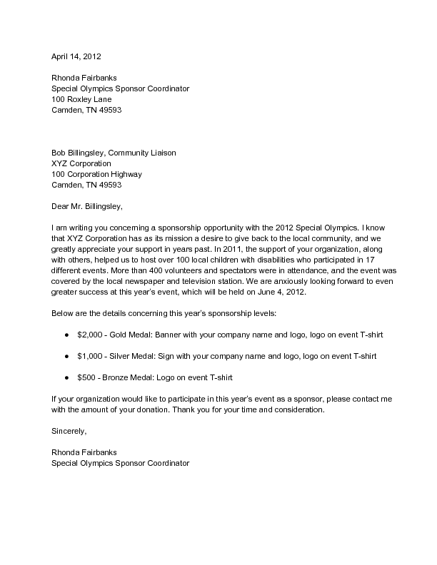 Sample Corporate Sponsorship Letter - wikiHow | Fundraising ...