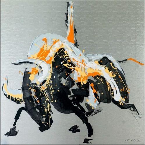 modern art stier auf leinwand raging bull i martin klein stier leinwand und lgem lde auf. Black Bedroom Furniture Sets. Home Design Ideas