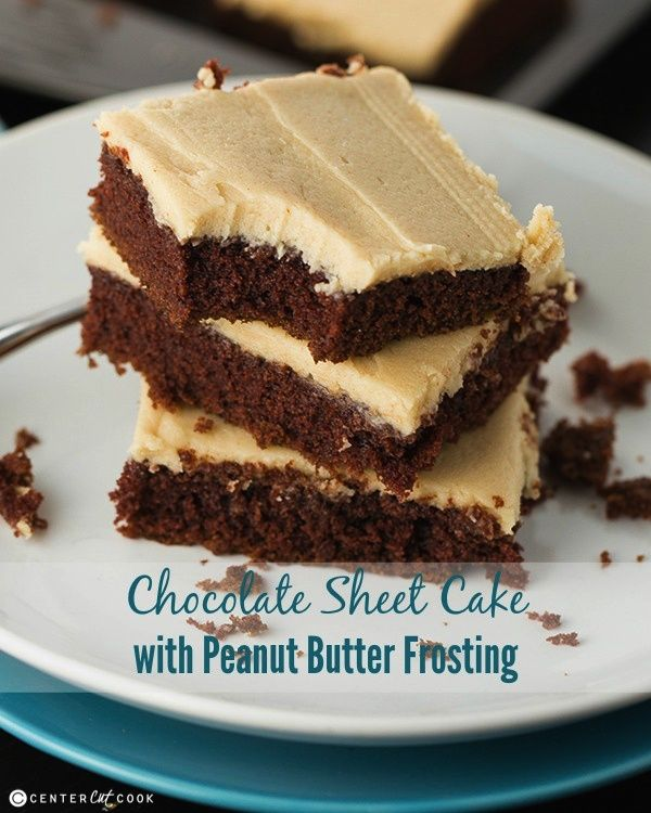 Homemade Butter Cake From Scratch: Chocolate Sheet Cake With Peanut Butter Frosting