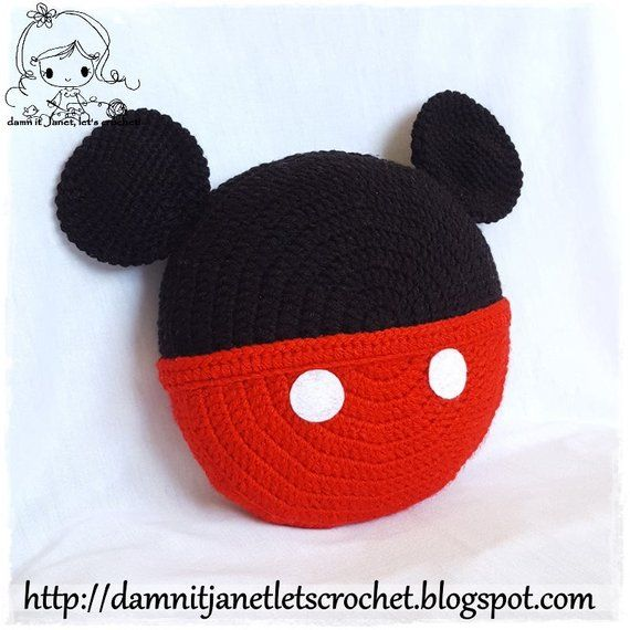 24236712da1 Inspired Mickey Mouse Pillow - PDF Crochet Pattern - Instant Download