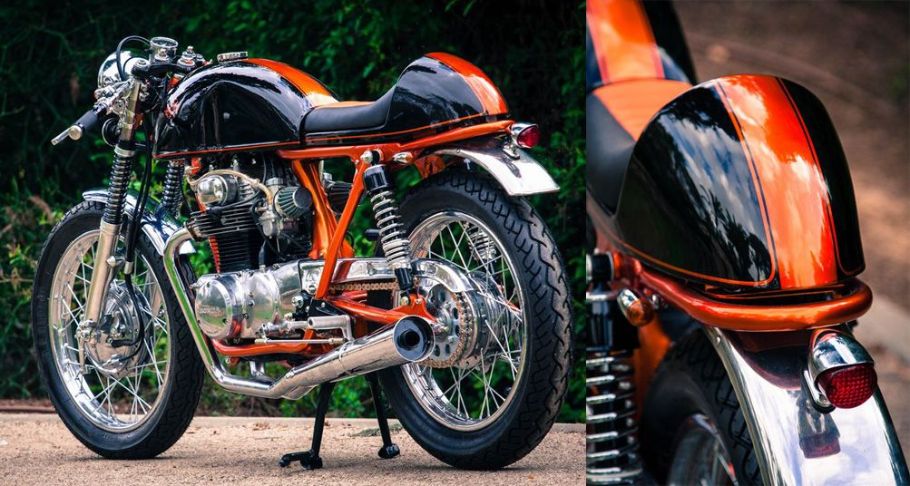 "his latest creation is the ""huf"" honda cb350 cafe racer and it's"