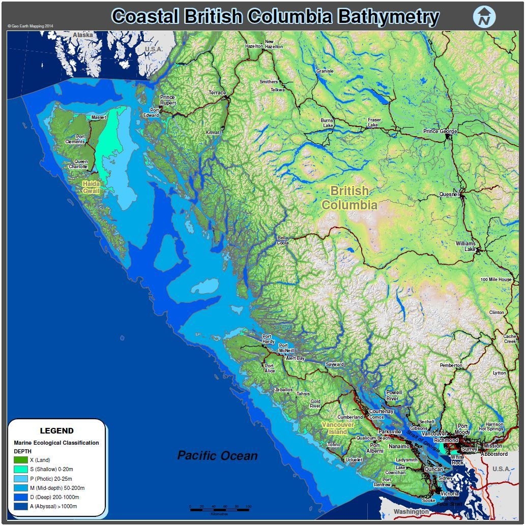BC Coast Bathymetry Map Ocean Depths Maps By Geo Earth Mapping - Ocean depth map