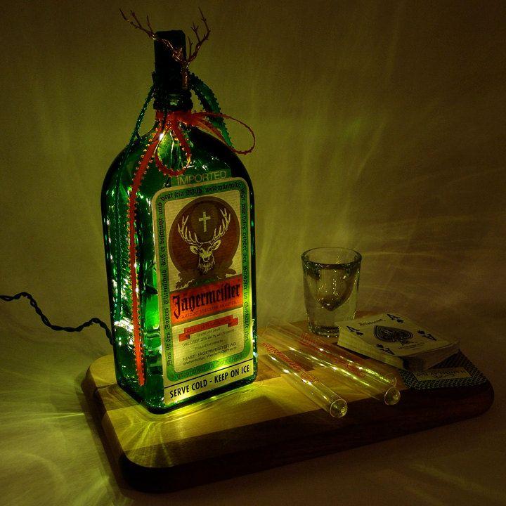 Jaegermeister Light Up Liquor Bottle   Lighted Decorated Bottle / Lamp /  Bar / Party / Night Light