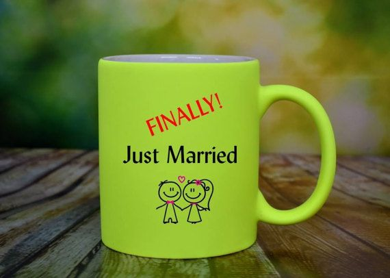 Just Married Mug Wedding Day Gifts Couples Mug by ShopHappyCrafts
