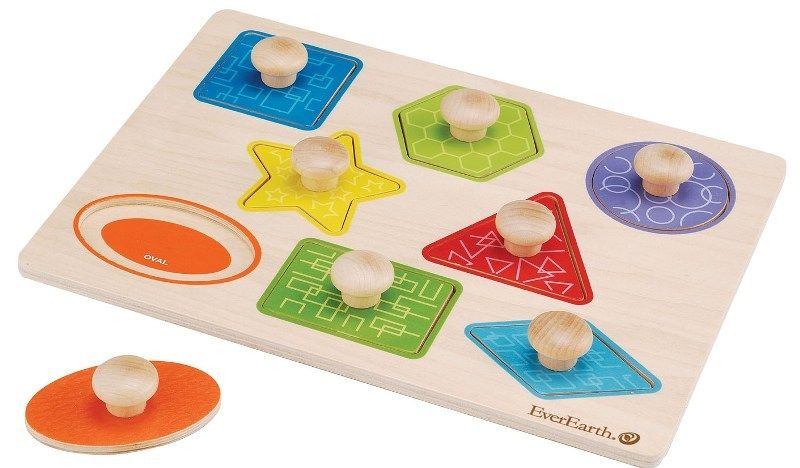Everearth Shape Knob Puzzle | Wooden shapes, Baby toys and ... Wooden Toddler Puzzle