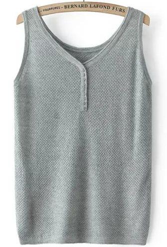 Top de punto cuello redondo botones-gris 15.02