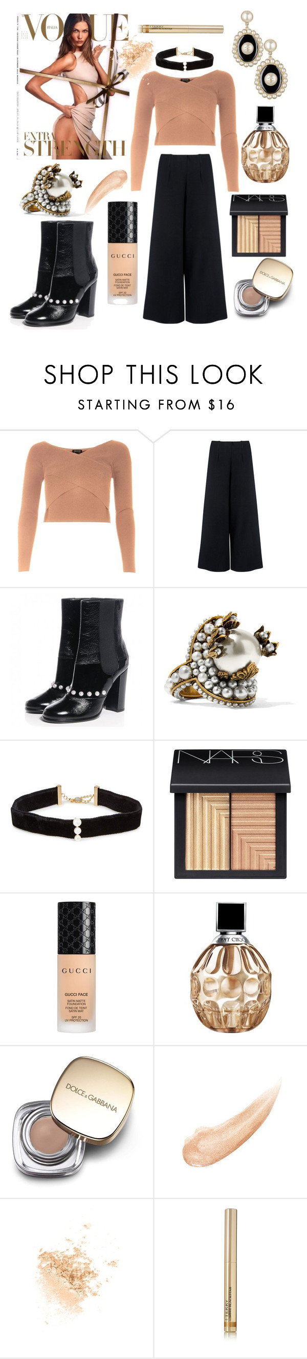 """""""Knitwear"""" by mandimwpink ❤ liked on Polyvore featuring River Island, C/MEO COLLECTIVE, Chanel, Gucci, Anissa Kermiche, NARS Cosmetics, Jimmy Choo, Dolce&Gabbana, Topshop and By Terry"""