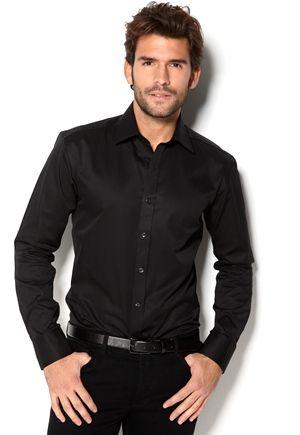 SELECTED HOMME One Pelle Caracas Shirt musta
