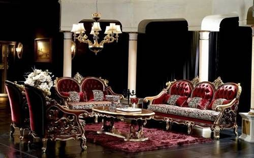 Luxury Red Antique Furnishings Living Room Furniture