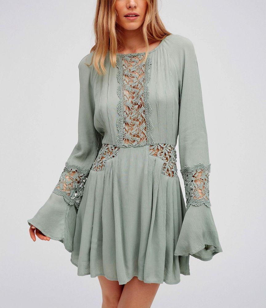 Free People Long Sleeve Embroidered Cutwork Dress Fit Flare Crochet Mini Freepeople Fitflaredress Mi Cute Casual Dresses Casual Dresses For Women Mini Dress [ 1000 x 864 Pixel ]