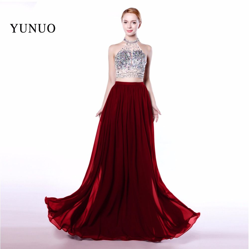Robe de soiree burgundy chiffon long evening dress elegant halter